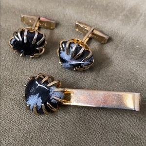 Stone cuff links and tie clip